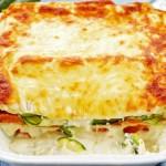 Lasagne s cuketami, sladkými bramborami (batáty) a sýrem ricotta