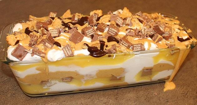 Nepečené sladké lasagne s Kit-Kat tyčinkami