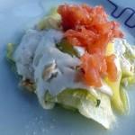 Lehoučké cuketové lasagne s uzeným lososem