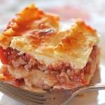 Lasagne s cottage sýrem a krůtím masem