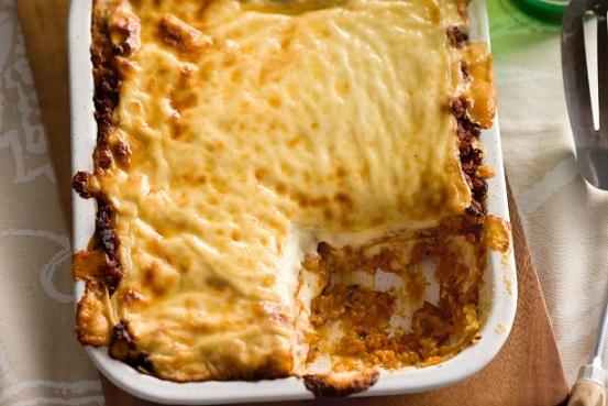 Lasagne s masem a čočkou