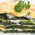 Lasagne se špenátem a plísňovým sýrem