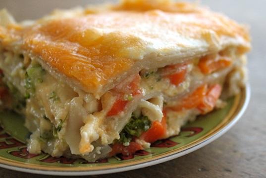Mrkvové lasagne s brokolicí